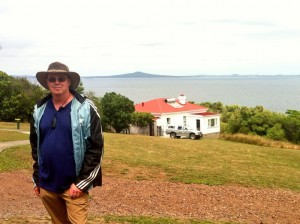 Tiritiri Matangi Bunk house in background and view of Rangitoto Island