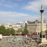 Trafalgar Sqaure from the roof top terrace at Canada House.